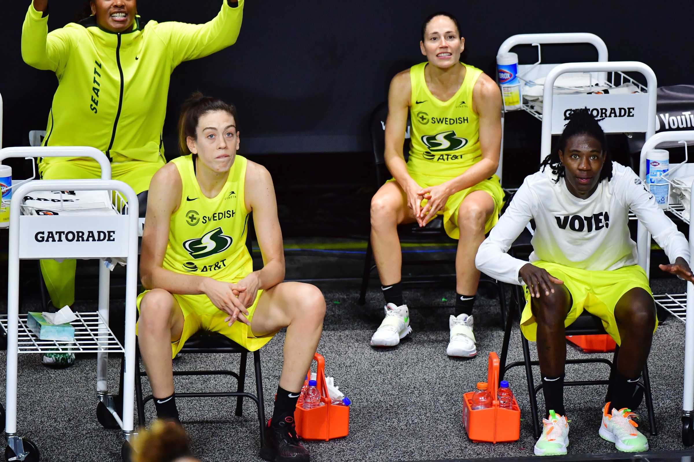 Breanna Stewart #30, Sue Bird #10, and Natasha Howard #6 of the Seattle Storm look on during the second half of Game Two of the WNBA Finals against the Las Vegas Aces at Feld Entertainment Center on October 04, 2020 in Palmetto, Florida.