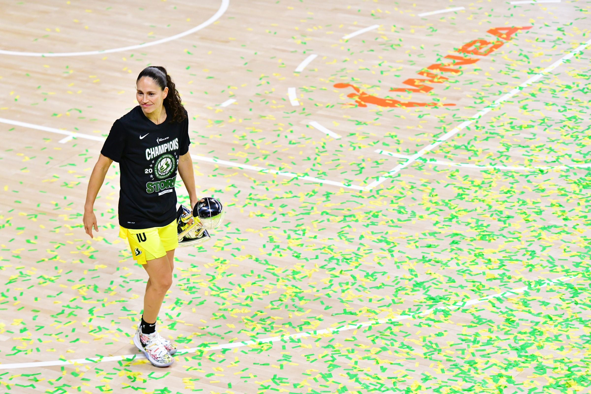 Sue Bird #10 of the Seattle Storm walks across the court after winning the WNBA Championship following Game 3 of the WNBA Finals against the Las Vegas Aces at Feld Entertainment Center on October 06, 2020 in Palmetto, Florida.