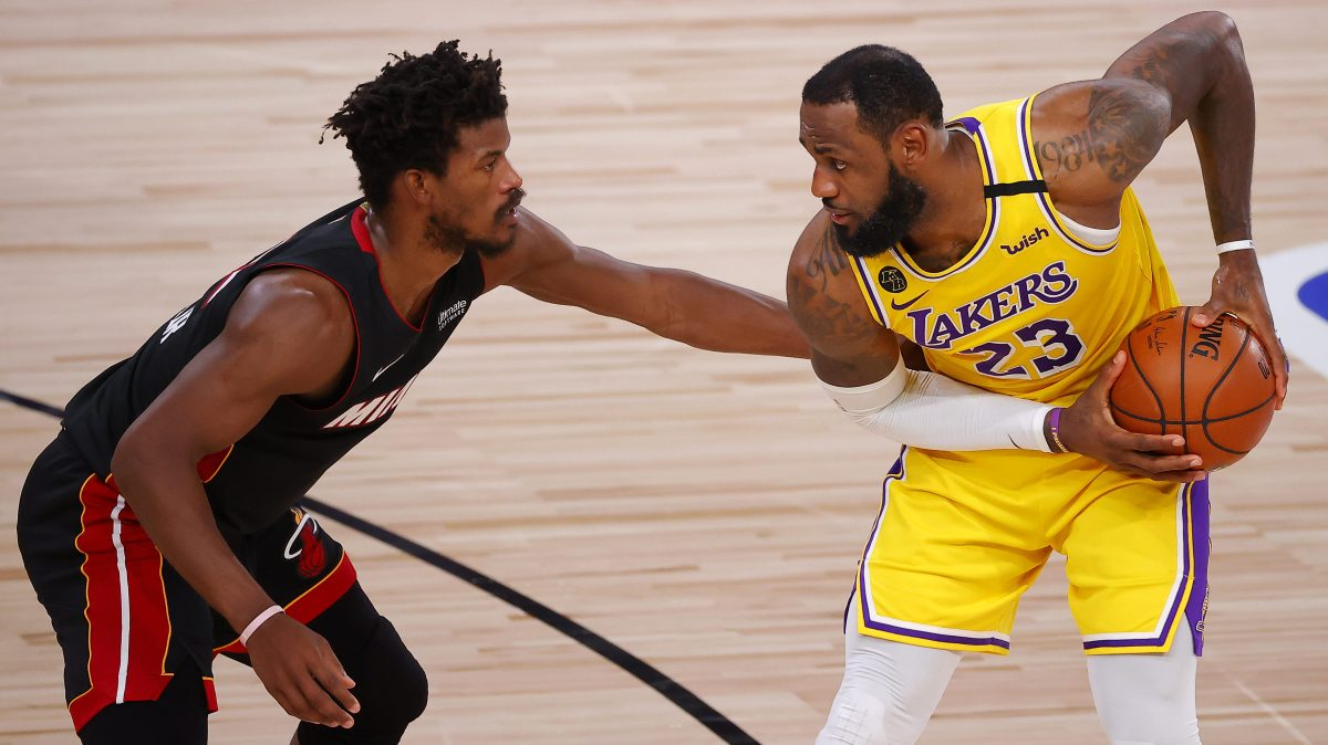 Jimmy Butler #22 of the Miami Heat defends LeBron James #23 of the Los Angeles Lakers during the fourth quarter in Game Four of the 2020 NBA Finals