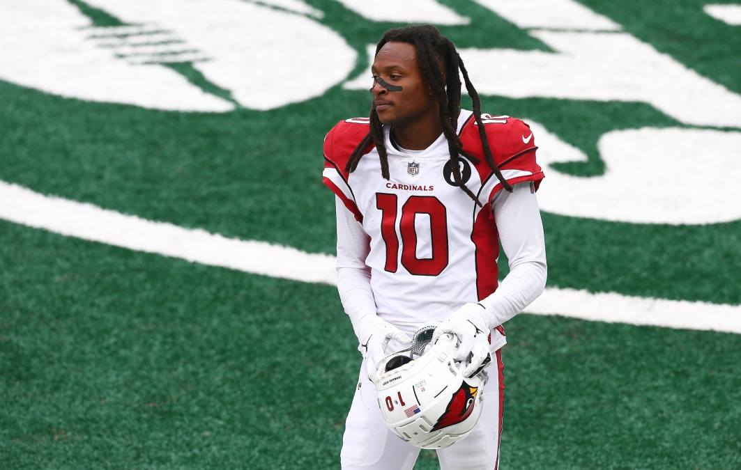 DeAndre Hopkins of the Arizona Cardinals stands with his helmet off.