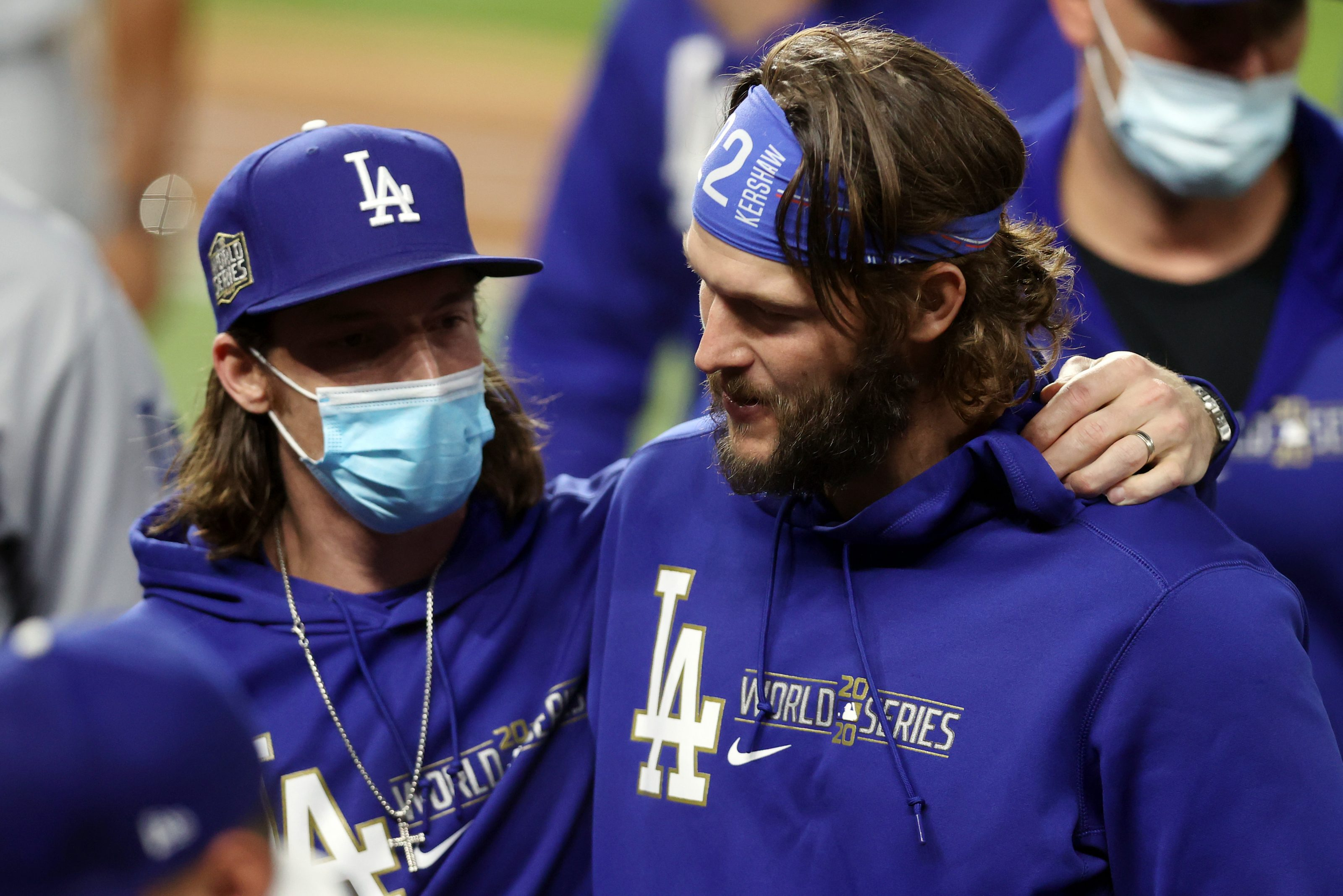 Clayton Kershaw #22 of the Los Angeles Dodgers celebrates with teammates