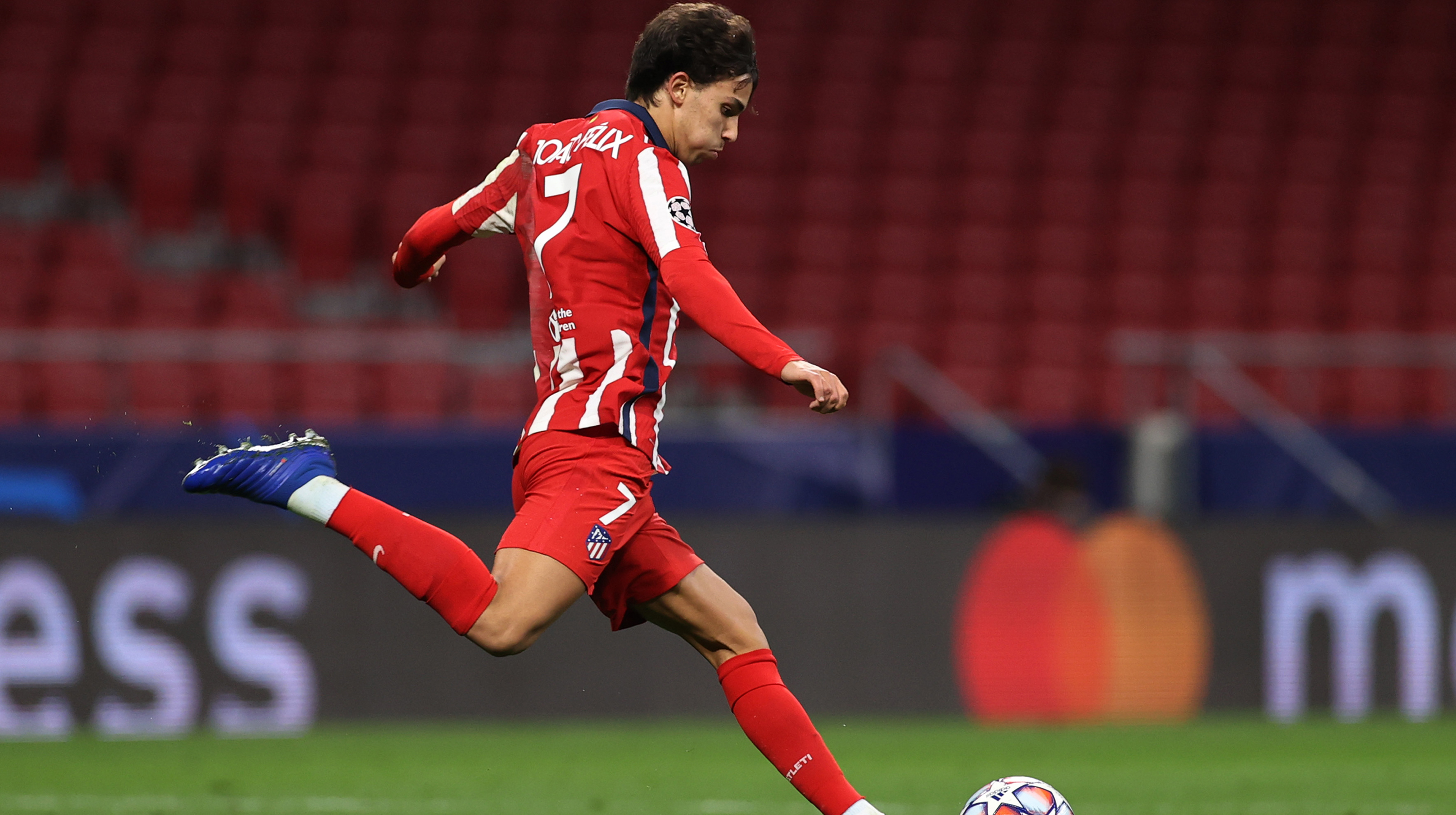 Joao Felix of Atletico de Madrid in action during the UEFA Champions League Group A stage match between Atletico de Madrid and RB Salzburg at Estadio Wanda Metropolitano on October 27, 2020