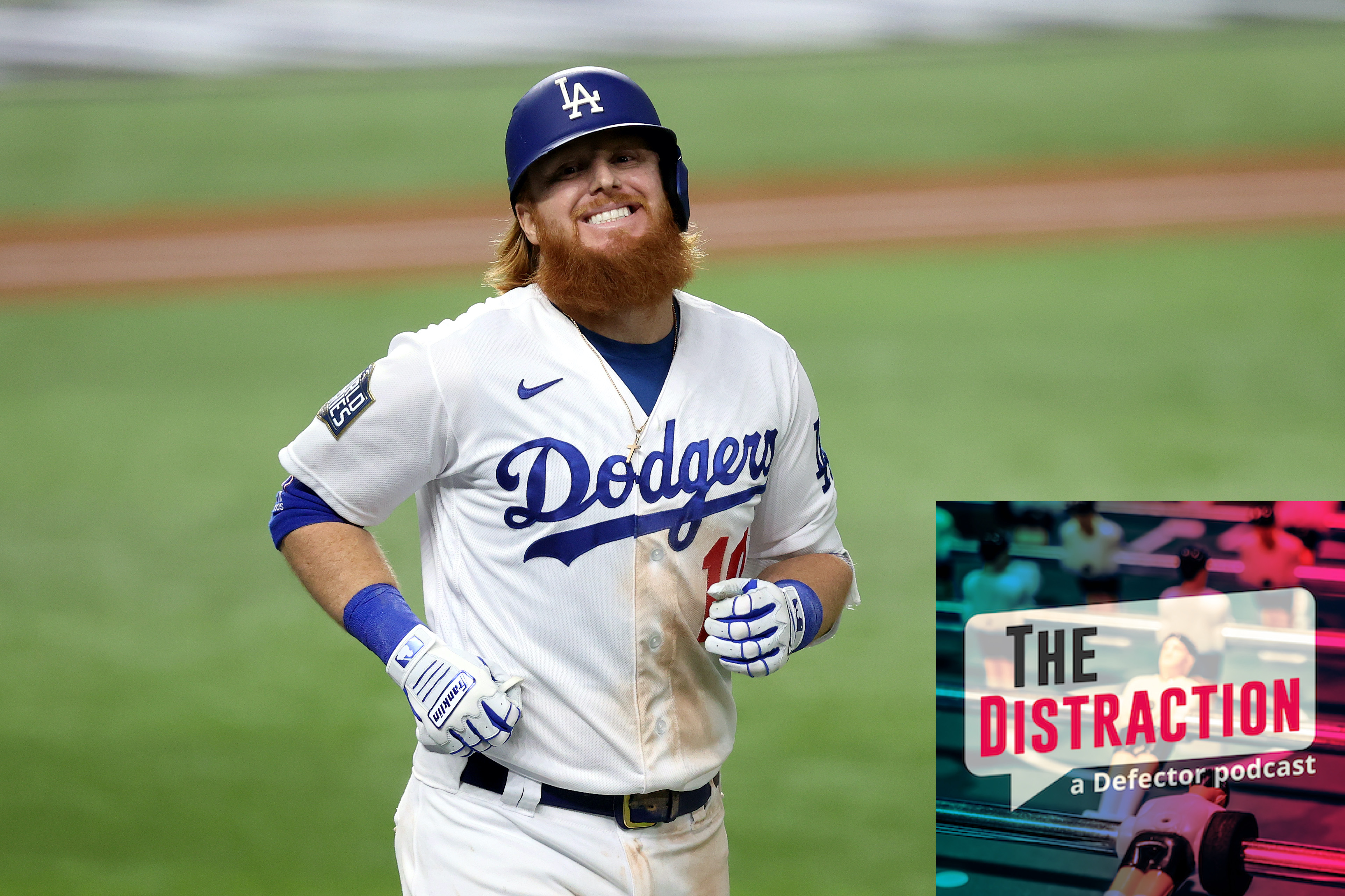 Justin Turner grimaces after nearly hitting a home run in Game 6 of the World Series, while aware he'd tested positive for Covid-19.