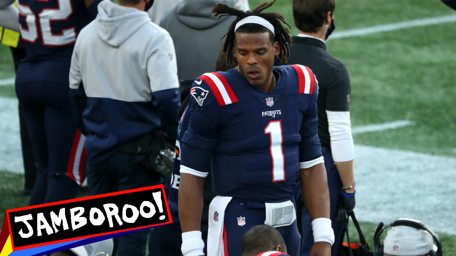 FOXBOROUGH, MASSACHUSETTS - OCTOBER 25:Cam Newton #1 of the New England Patriots looks on from the bench during the game against the San Francisco 49ers at Gillette Stadium on October 25, 2020 in Foxborough, Massachusetts. (Photo by Maddie Meyer/Getty Images)