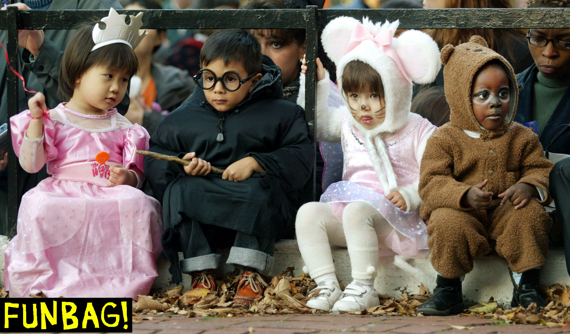 NEW YORK - OCTOBER 31: Children gather during the annual Children's Village Halloween Parade October 31, 2002 in New York City. The city will celebrate its annual Halloween parade for adults on Sixth Avenue this evening. (Photo by Mario Tama/Getty Images)