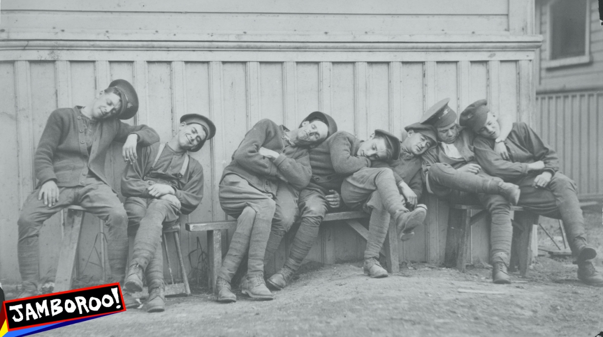 Soldiers of the Canadian Mounted Rifles Regiment taking a nap following military maneuvers during World War One, circa 1914-1918. (Press Illustrating Service/FPG/Archive Photos/Getty Images)