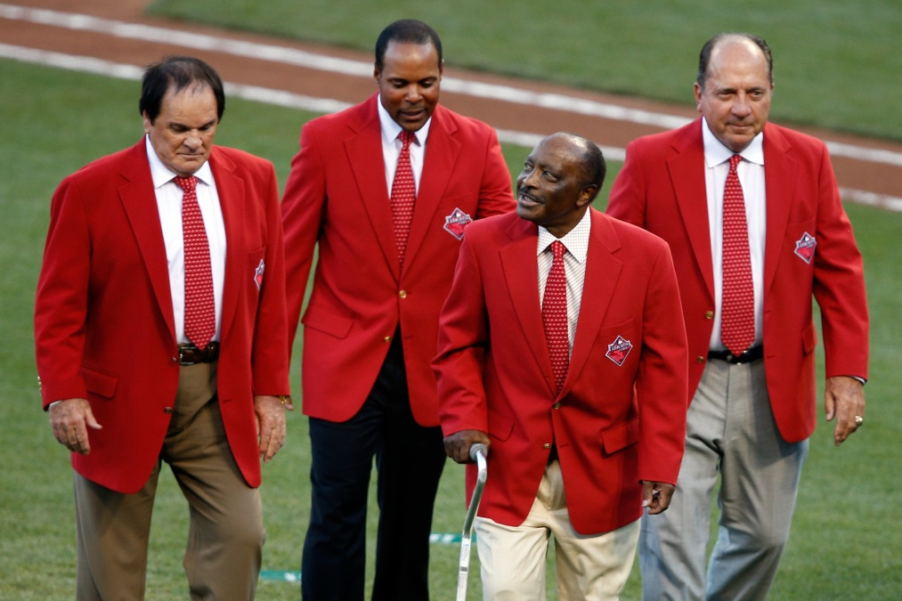 Joe Morgan with fellow Reds legends Pete Rose, Barry Larkin, and Johnny Bench at the 2019 MLB All-Star Game.