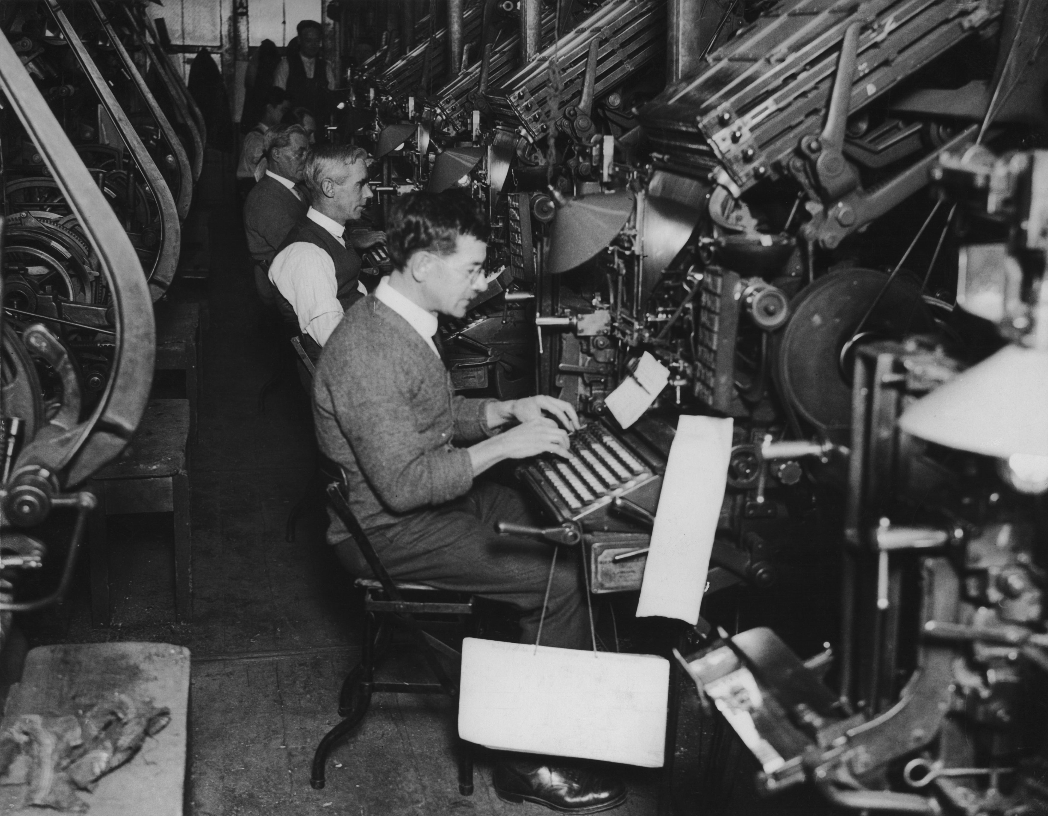 The linotype department of a large London newspaper, circa 1930.