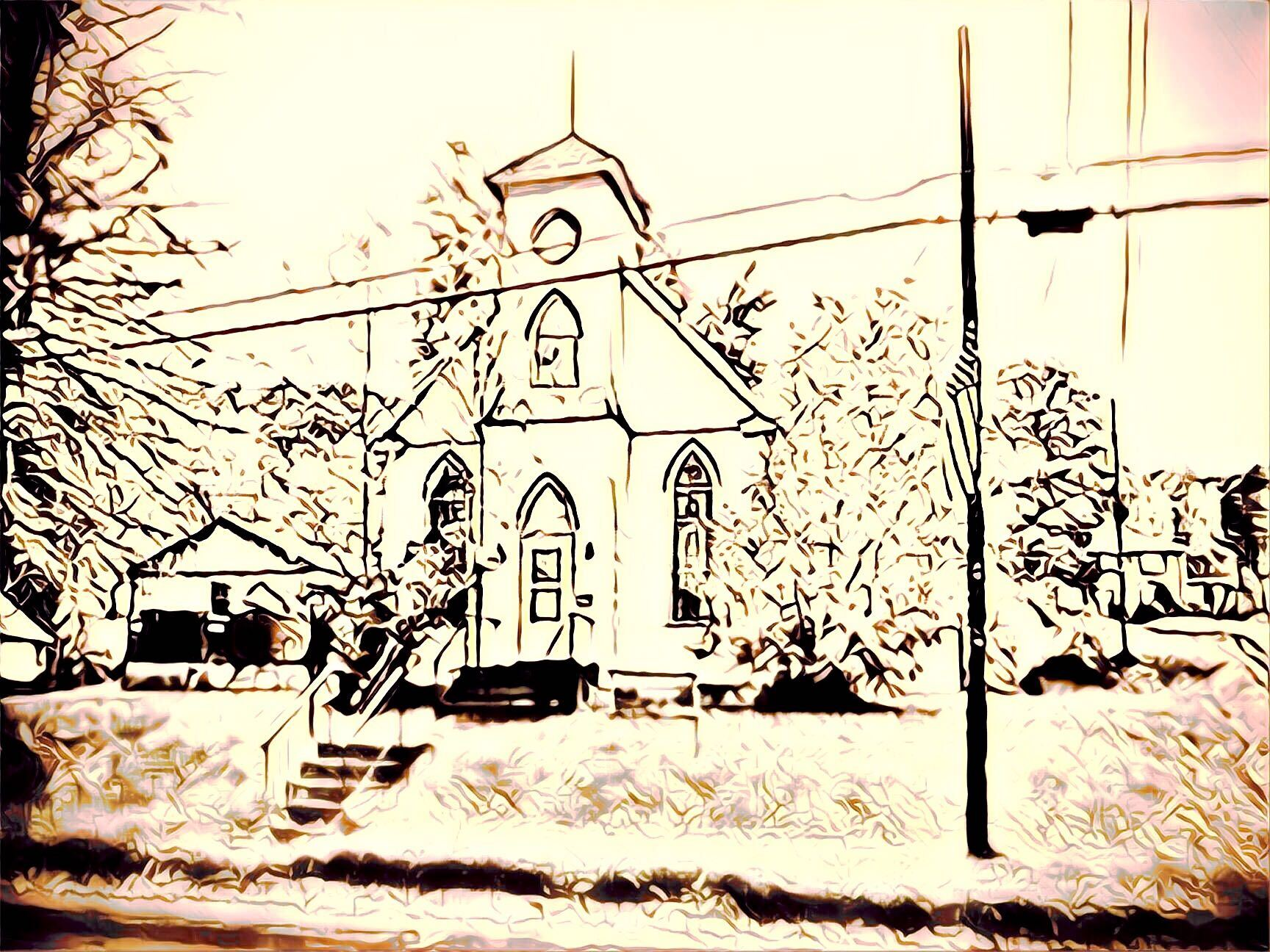 overexposed line drawing of a church