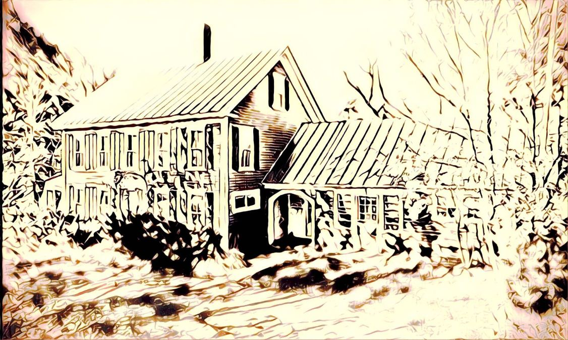 an overexposed drawing of this week's house