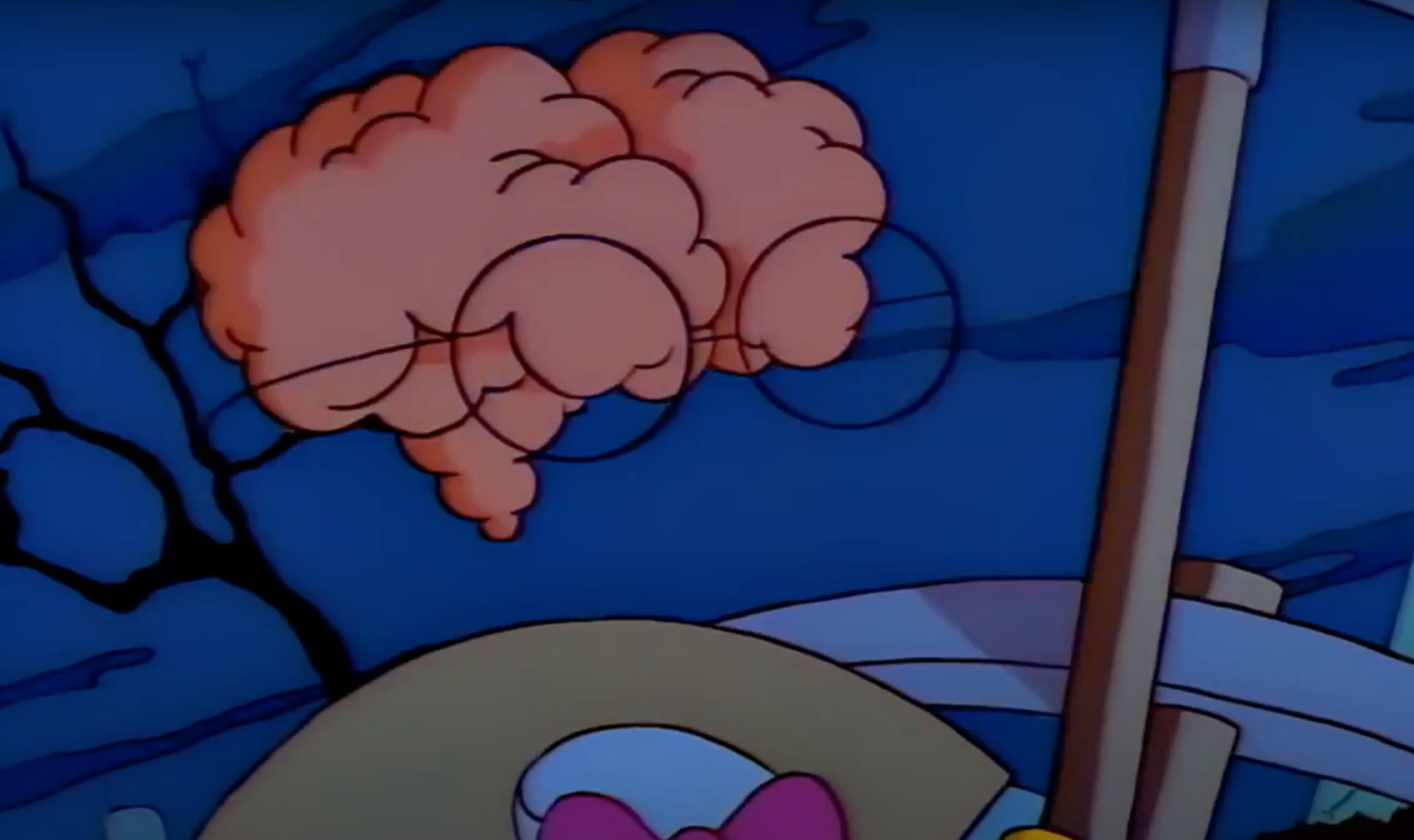 A view of the brain of Waylon Smithers, from The Simpsons.
