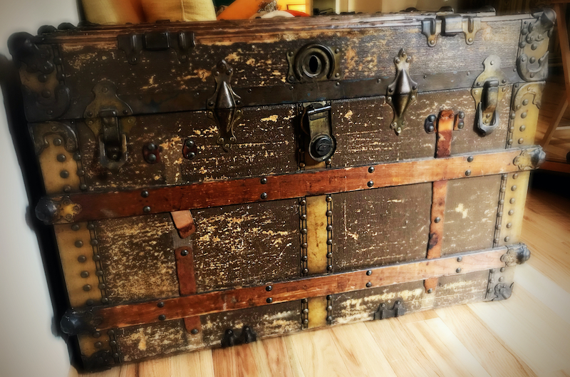 An old trunk that Chris Thompson inherited upon the death of his mother-in-law.