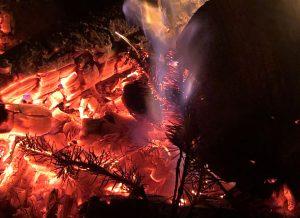 A fire burns.