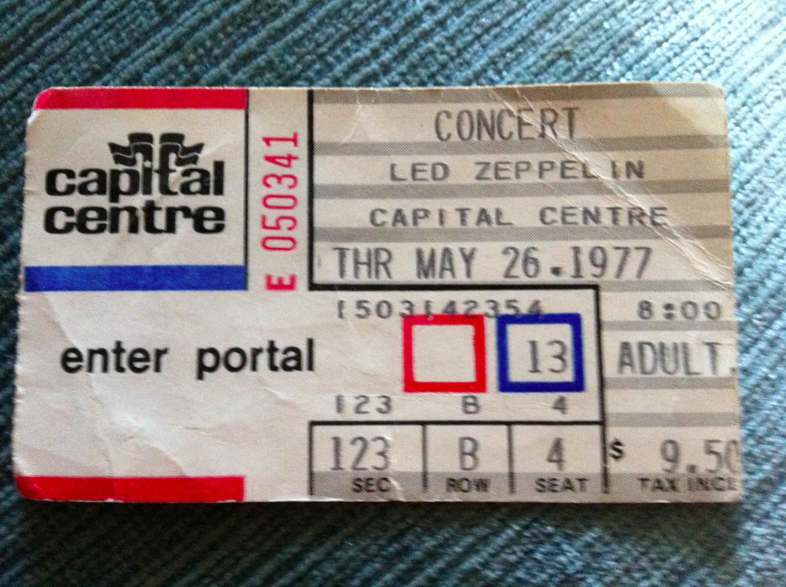 Led Zeppelin concert ticket