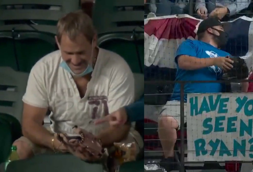 split screen of two fans at the World Series, one with a face mask and one without