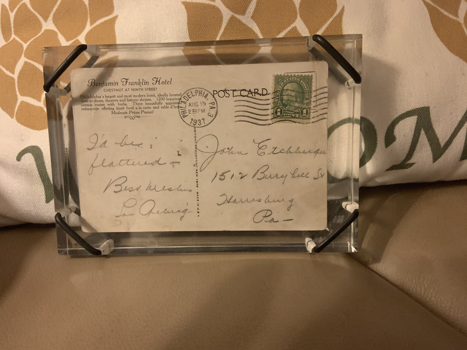 postcard from Lou Gehrig