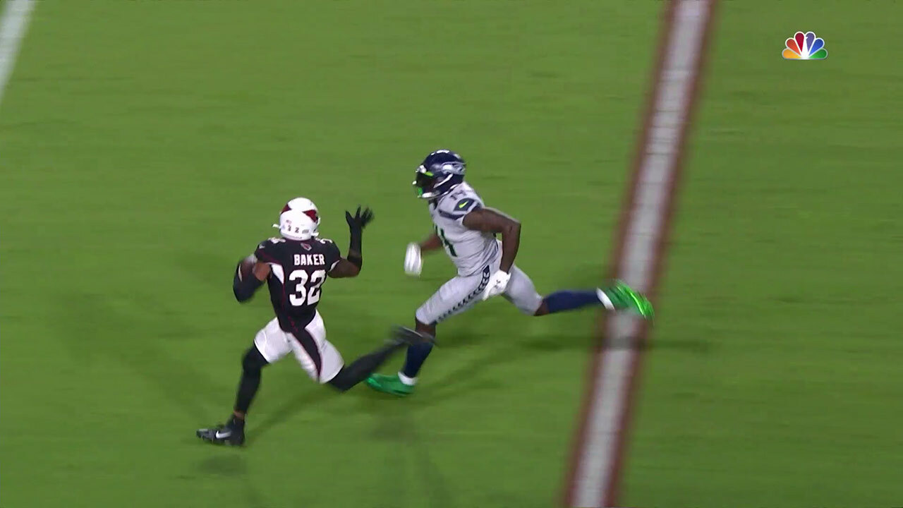 Seattle Seahawks receiver D.K. Metcalf closes in on his prey.