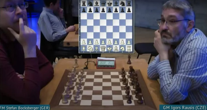 Disgraced chess grandmaster Igors Rausis plays against an opponent.