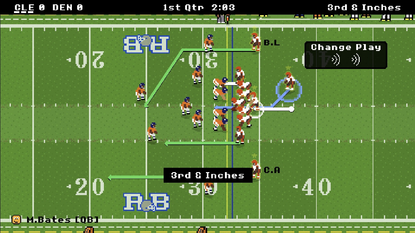 Gameplay from the mobile game Retro Bowl