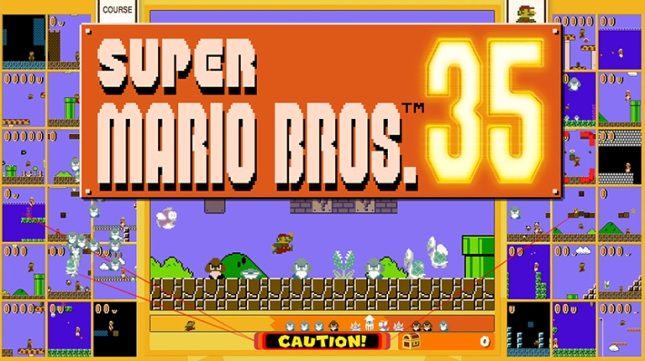 The title screen of Super Mario Bros. 35