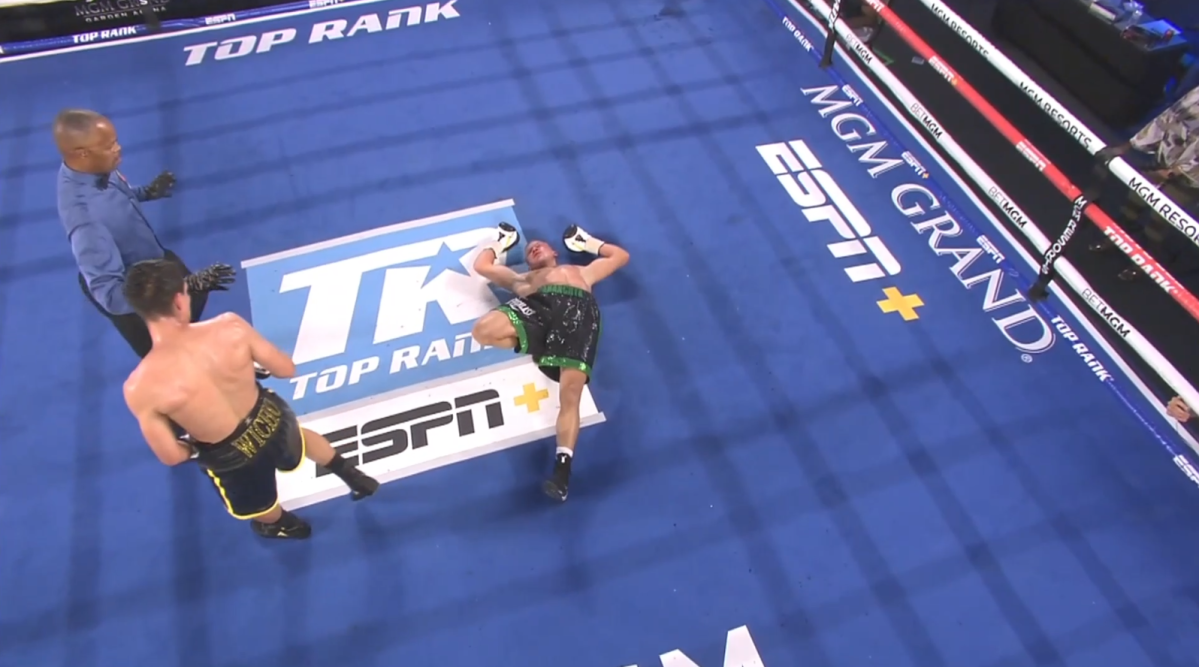 Ivan Baranchyk on the canvas after being knocked out by Jose Zepeda