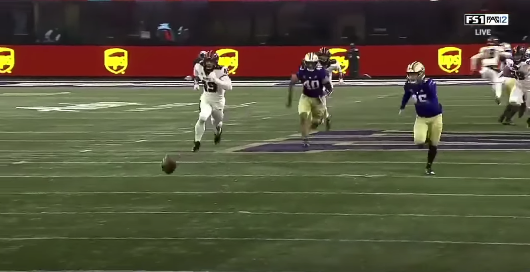 Chasing a football 20 yards is not ordinarily what a punter does on a punt play.