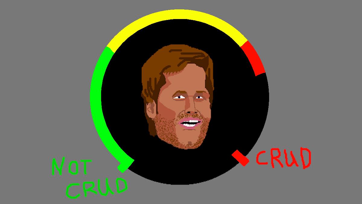 The Crud Meter shows that Tom Brady was pretty cruddy tonight.