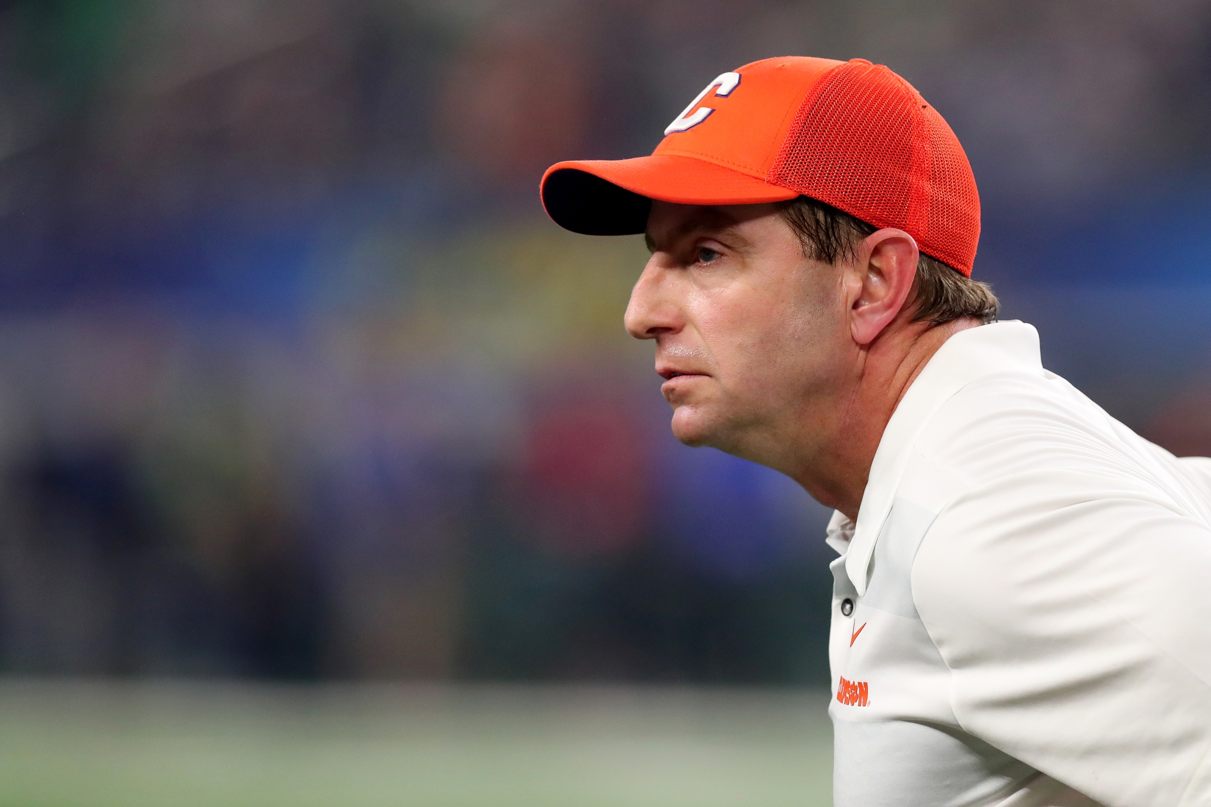 Head coach Dabo Swinney of the Clemson Tigers looks on in the first half against the Notre Dame Fighting Irish during the College Football Playoff Semifinal Goodyear Cotton Bowl Classic at AT&T Stadium on December 29, 2018 in Arlington, Texas.