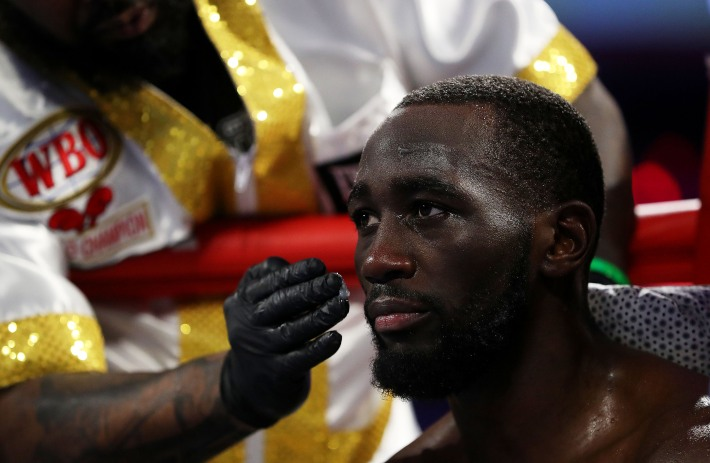 Terence Crawford looks on