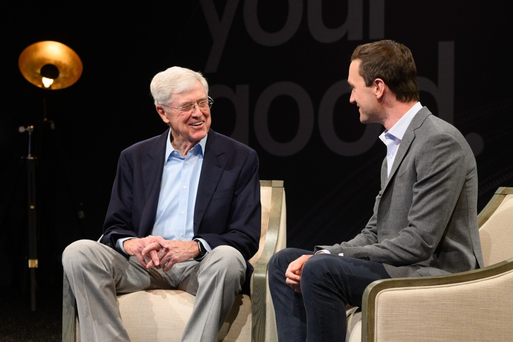 Charles Koch, a billionaire menace to society, speaks to his co-author Brian Hooks