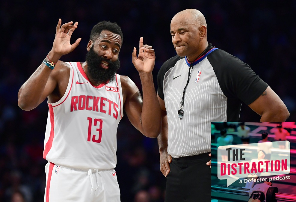 James Harden tells a referee what seems like a very interesting story.