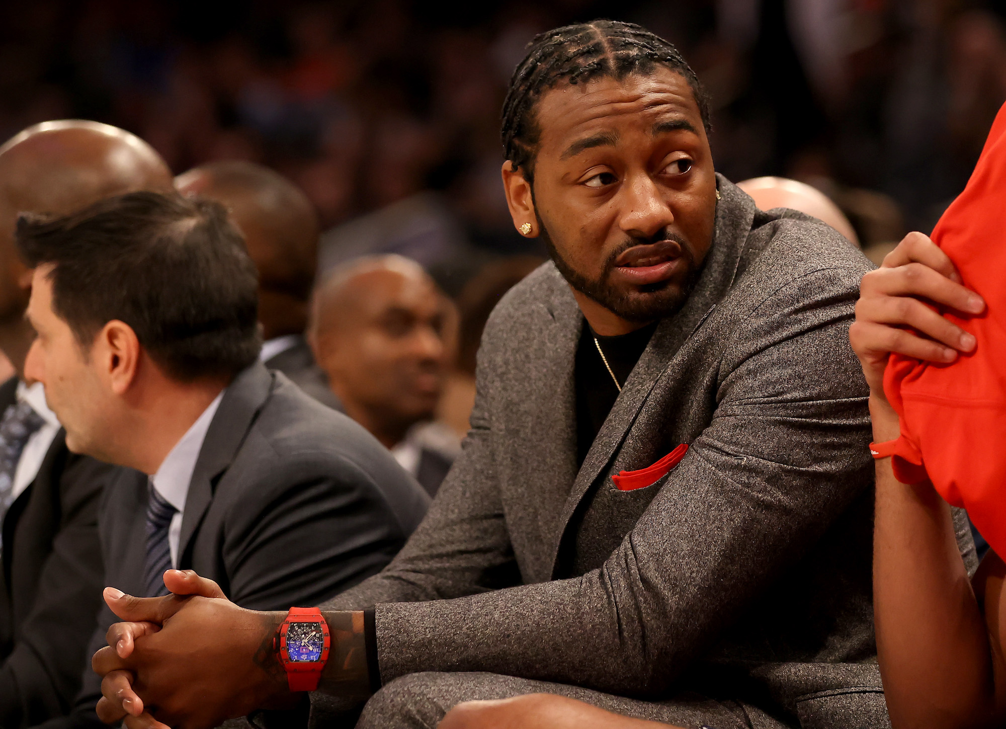 NEW YORK, NEW YORK - FEBRUARY 12: John Wall of the Washington Wizards sits on the bench in the first half against the New York Knicks at Madison Square Garden on February 12, 2020 in New York City. NOTE TO USER: User expressly acknowledges and agrees that, by downloading and or using this photograph, User is consenting to the terms and conditions of the Getty Images License Agreement. (Photo by Elsa/Getty Images)