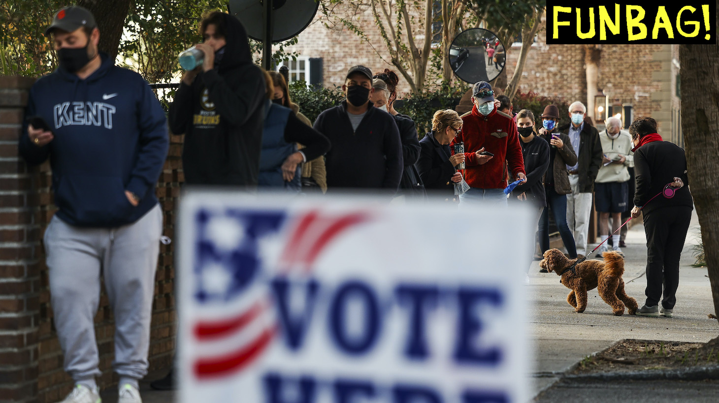 CHARLESTON, SC - NOVEMBER 03: People line up to vote at the Hazel Parker Playground on Election Day on November 3, 2020 in Charleston, United States. After a record-breaking early voting turnout, Americans head to the polls on the last day to cast their vote for incumbent U.S. President Donald Trump or Democratic nominee Joe Biden in the 2020 presidential election. (Photo by Michael Ciaglo/Getty Images)