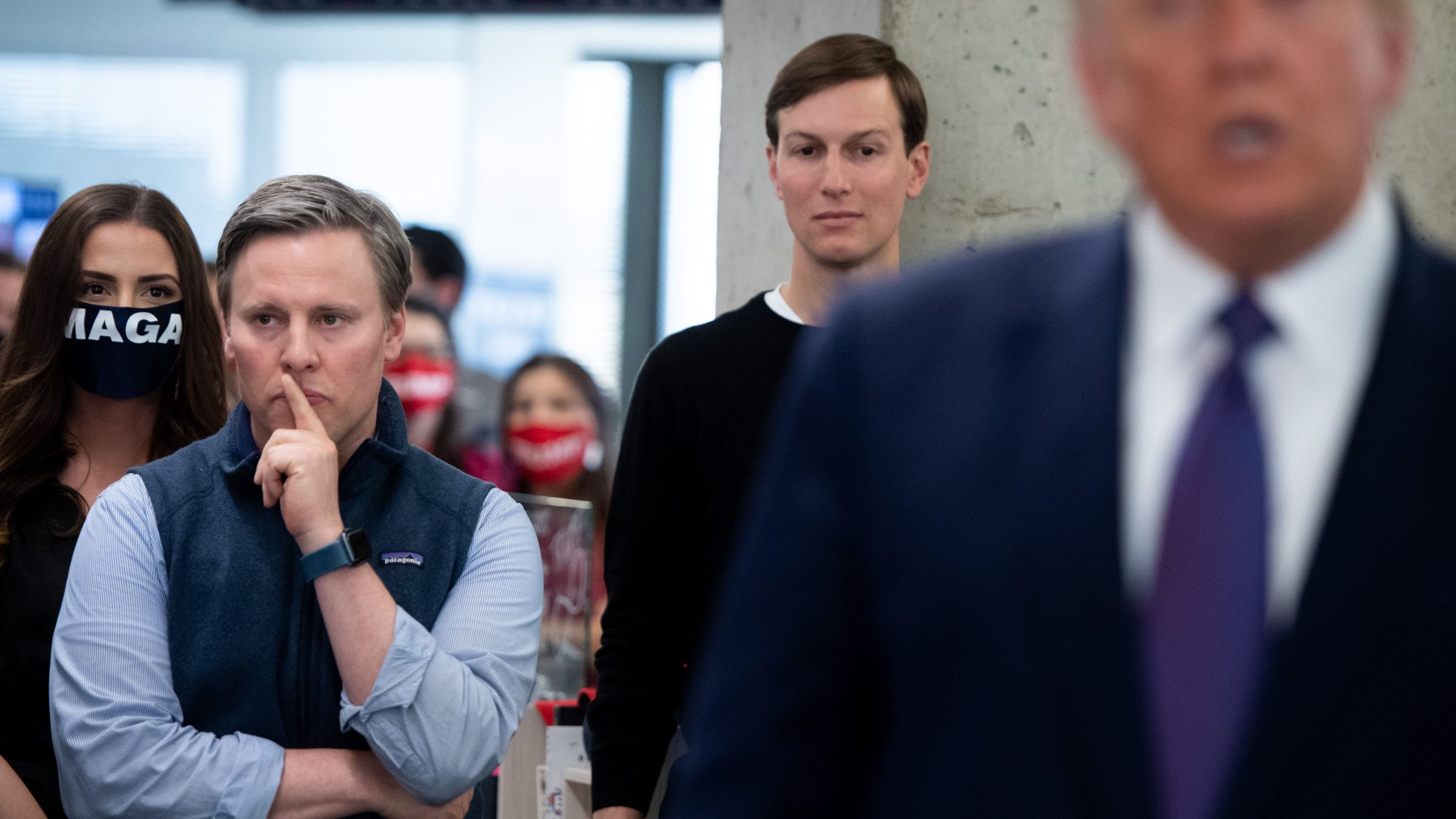 Trump campaign manager Bill Stepien and son-in-law Jared Kushner behind Donald Trump