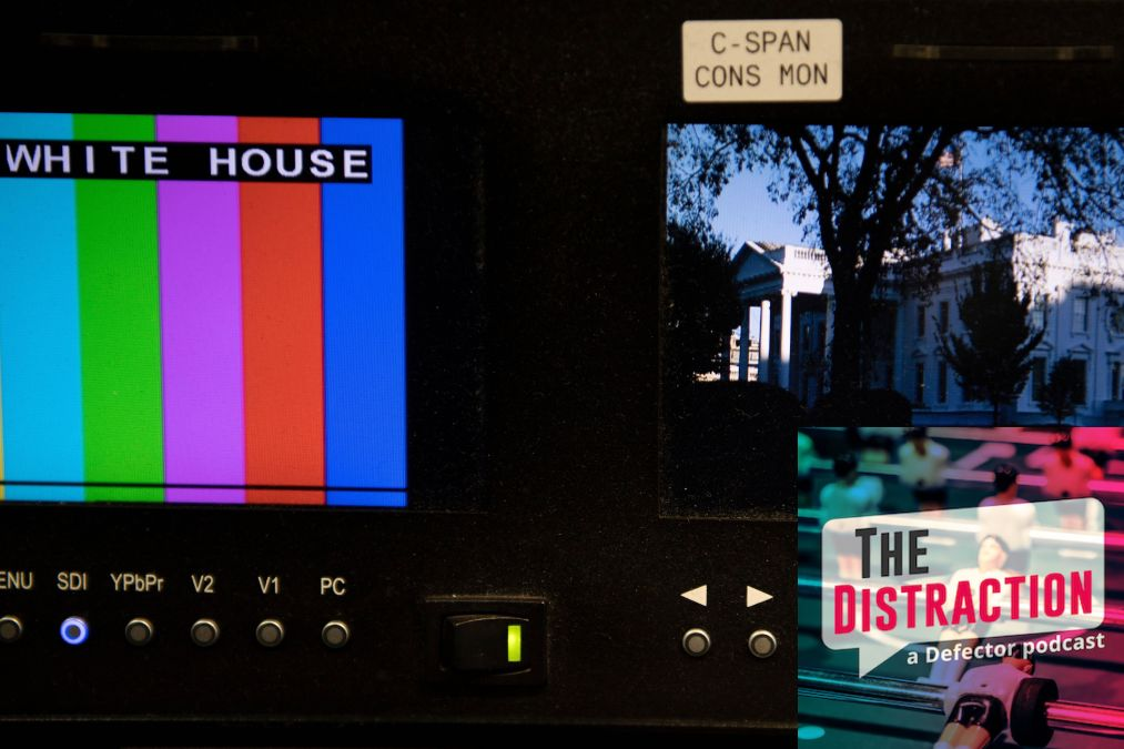 Some C-Span TV monitors waiting for something to report.