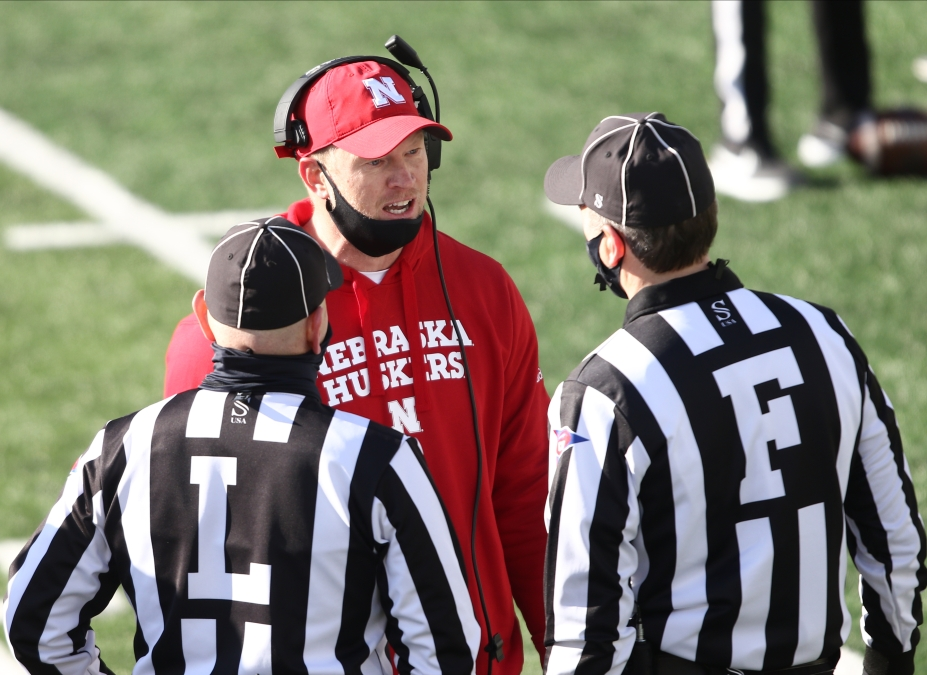 Head coach Scott Frost of the Nebraska Cornhuskers argues a call in the first half against the Iowa Hawkeyes at Kinnick Stadium on November 27, 2020 in Iowa City, Iowa.