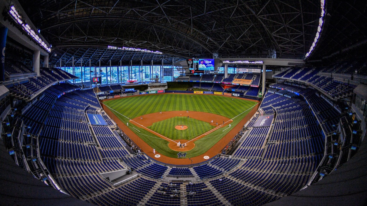 MIAMI, FLORIDA - SEPTEMBER 20: A general view of the field prior to the game between the Miami Marlins and the Washington Nationals at Marlins Park on September 20, 2020 in Miami, Florida. (Photo by Mark Brown/Getty Images)