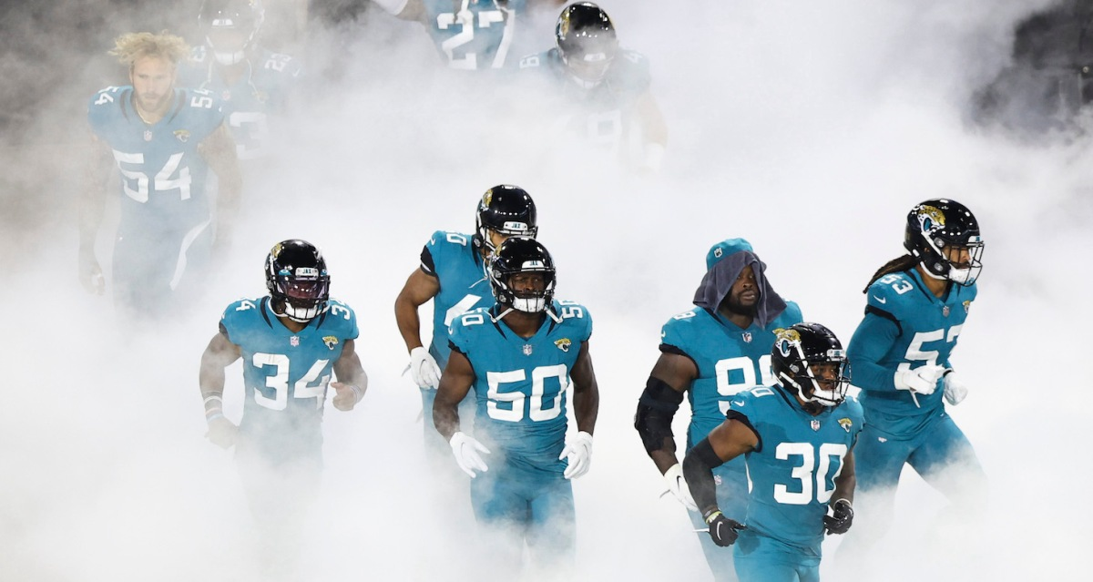 JACKSONVILLE, FLORIDA - SEPTEMBER 24: The Jacksonville Jaguars enter the field before the start of a game against the Miami Dolphins at TIAA Bank Field on September 24, 2020 in Jacksonville, Florida. (Photo by James Gilbert/Getty Images)