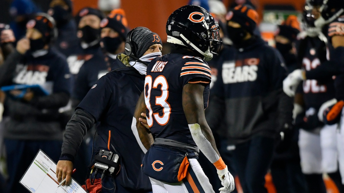 CHICAGO, ILLINOIS - NOVEMBER 01: Head coach Matt Nagy talks with Javon Wims #83 of the Chicago Bears after he was disqualified from the game against the New Orleans Saints in the second half at Soldier Field on November 01, 2020 in Chicago, Illinois. (Photo by Quinn Harris/Getty Images)