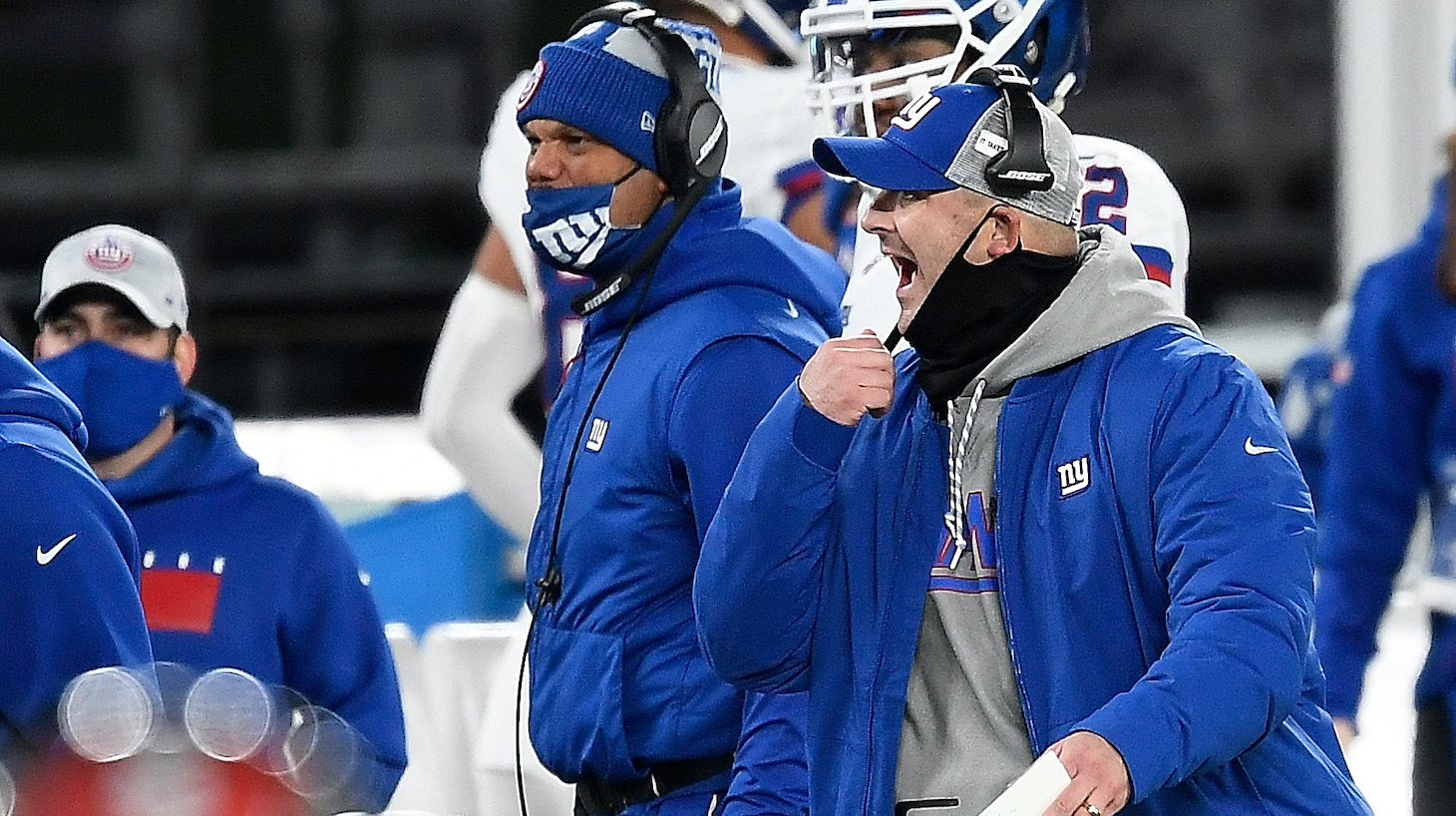 EAST RUTHERFORD, NEW JERSEY - NOVEMBER 02: Head coach Joe Judge of the New York Giants reacts during the first half against the Tampa Bay Buccaneers at MetLife Stadium on November 02, 2020 in East Rutherford, New Jersey. (Photo by Sarah Stier/Getty Images)