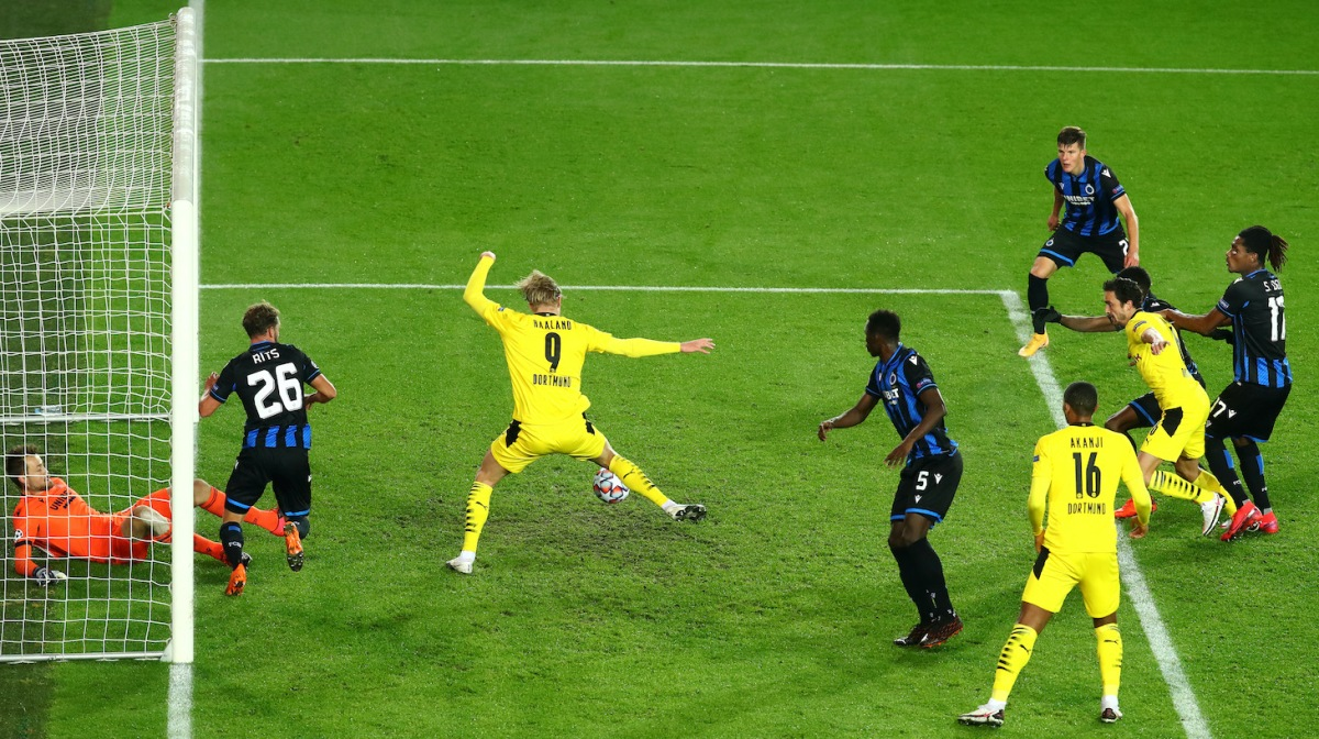 Erling Haaland of Borussia Dortmund scoring his teams second goal of the game during the UEFA Champions League Group F stage match between Club Brugge KV and Borussia Dortmund at Jan Breydel Stadium on November 04, 2020 in Brugge, Belgium.