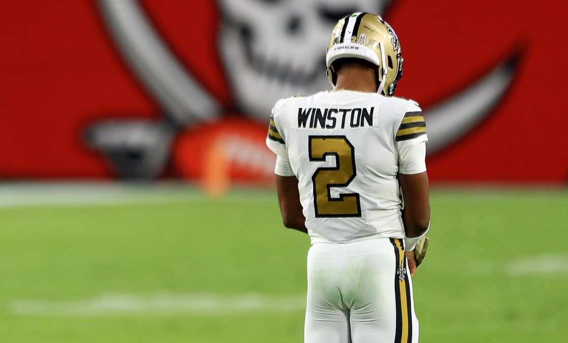 TAMPA, FLORIDA - NOVEMBER 08: Jameis Winston #2 of the New Orleans Saints stands on the field during the fourth quarter against the Tampa Bay Buccaneers at Raymond James Stadium on November 08, 2020 in Tampa, Florida. (Photo by Mike Ehrmann/Getty Images)
