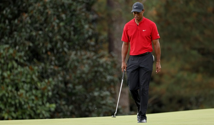 AUGUSTA, GEORGIA - NOVEMBER 15: Tiger Woods of the United States walks on the 14th green during the final round of the Masters at Augusta National Golf Club on November 15, 2020 in Augusta, Georgia. (Photo by Jamie Squire/Getty Images)
