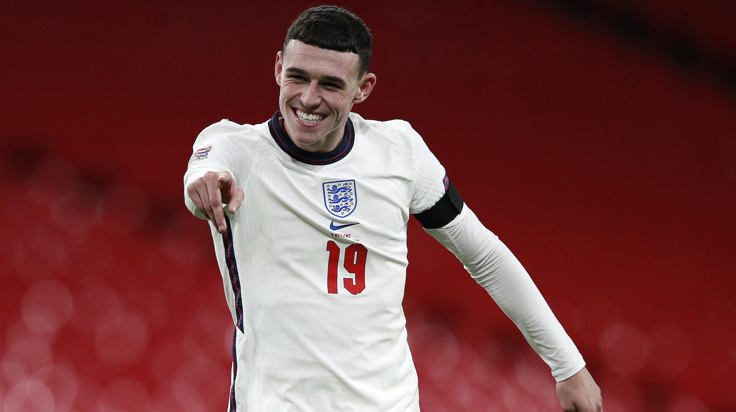 Phil Foden of England celebrates after scoring their team's third goal during the UEFA Nations League group stage match between England and Iceland at Wembley Stadium on November 18, 2020 in London, England. Football Stadiums around Europe remain empty due to the Coronavirus Pandemic as Government social distancing laws prohibit fans inside venues resulting in fixtures being played behind closed doors.