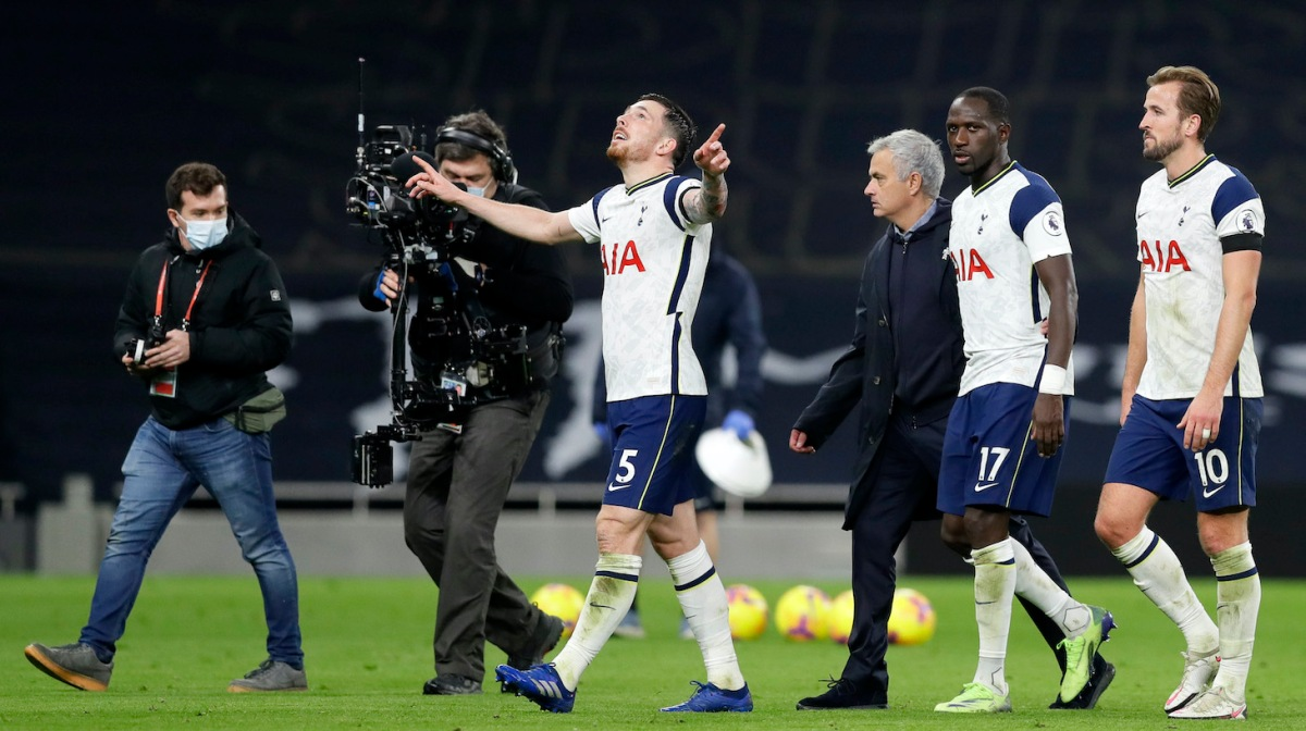 Pierre-Emile Hojbjerg of Tottenham Hotspur celebrates following his team's victory in the Premier League match between Tottenham Hotspur and Manchester City at Tottenham Hotspur Stadium on November 21, 2020 in London, England.