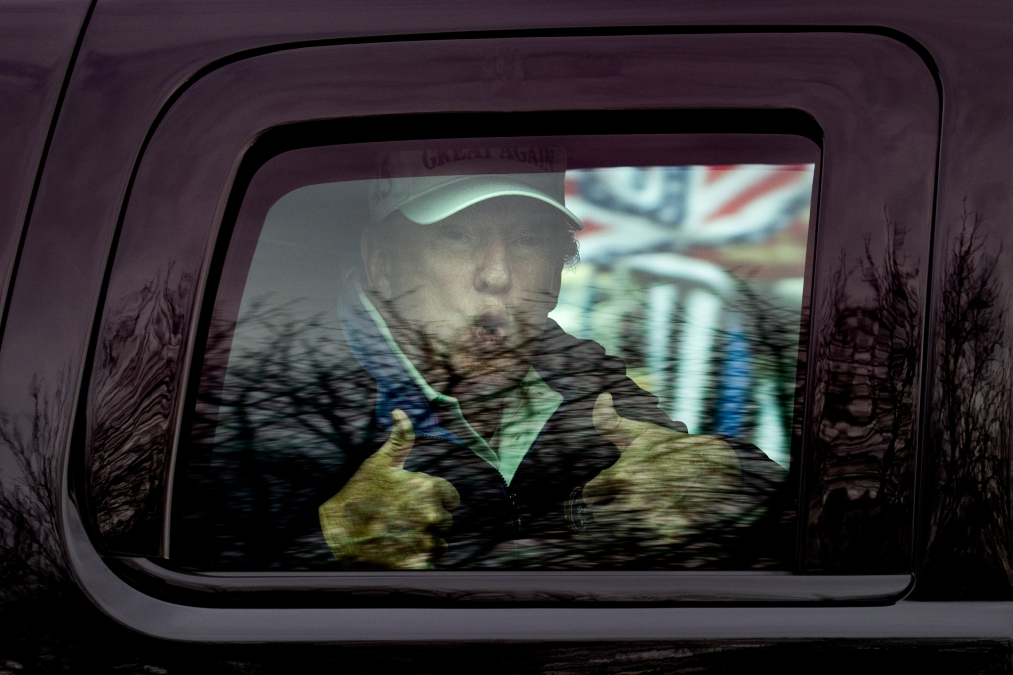 Just Donald Trump making weird sounds inside his SUV after golfing.