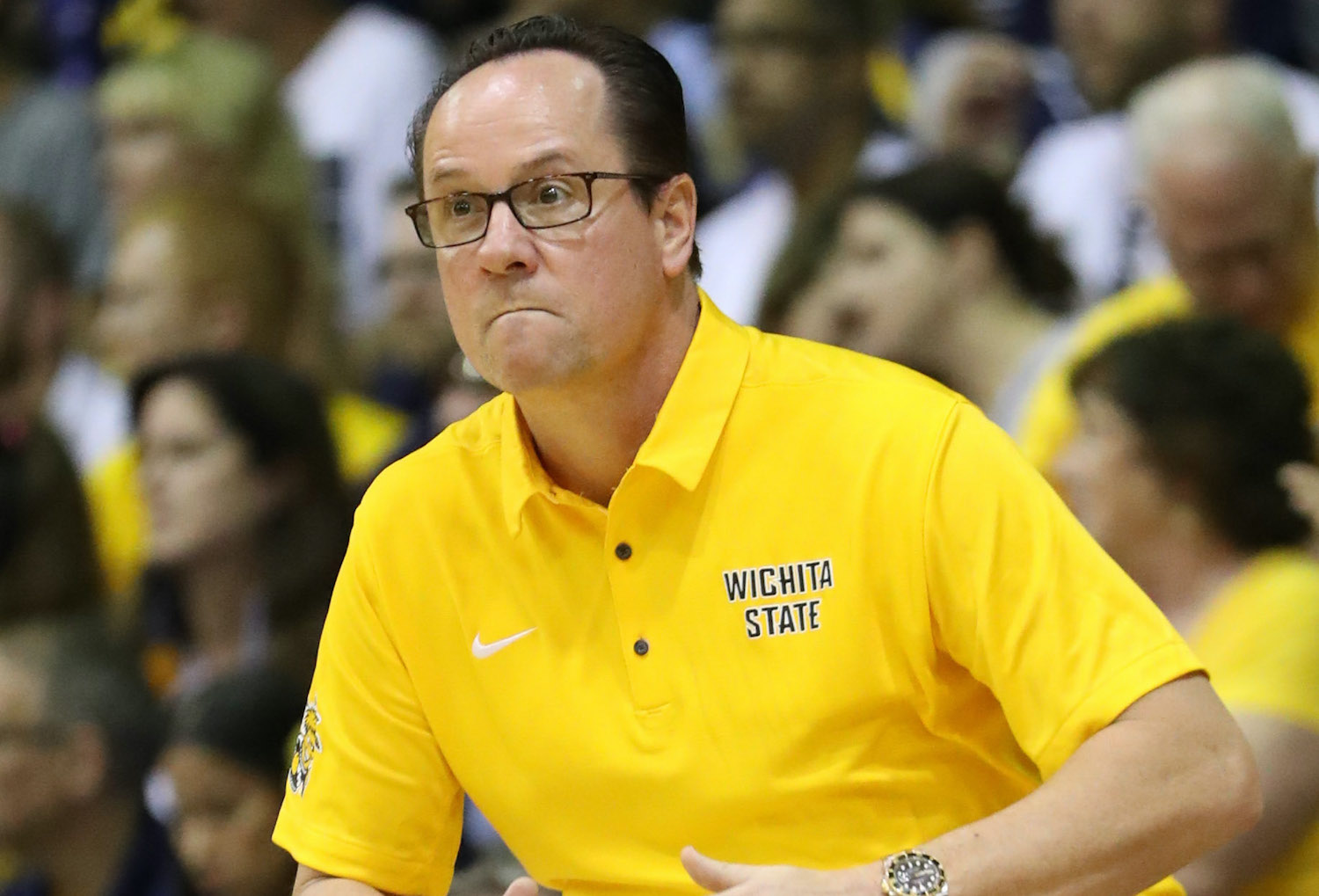 LAHAINA, HI - NOVEMBER 21: Head coach Gregg Marshall of the Wichita State Shockers reacts during the first half of the game against the Marquette Golden Eagles during the Maui Invitational at the Lahaina Civic Center on November 21, 2017 in Lahaina, Hawaii. (Photo by Darryl Oumi/Getty Images)