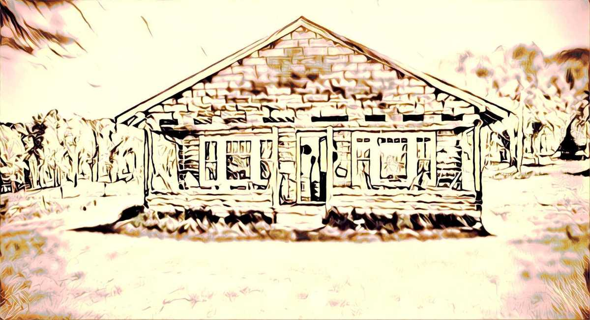 An overexposed artist's rendering of a cabin with a porch