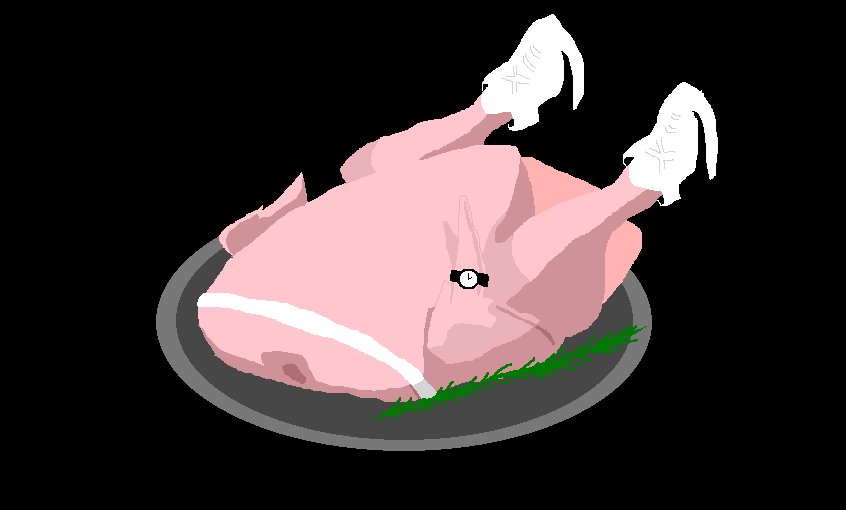 drawing of a turkey wearing a watch