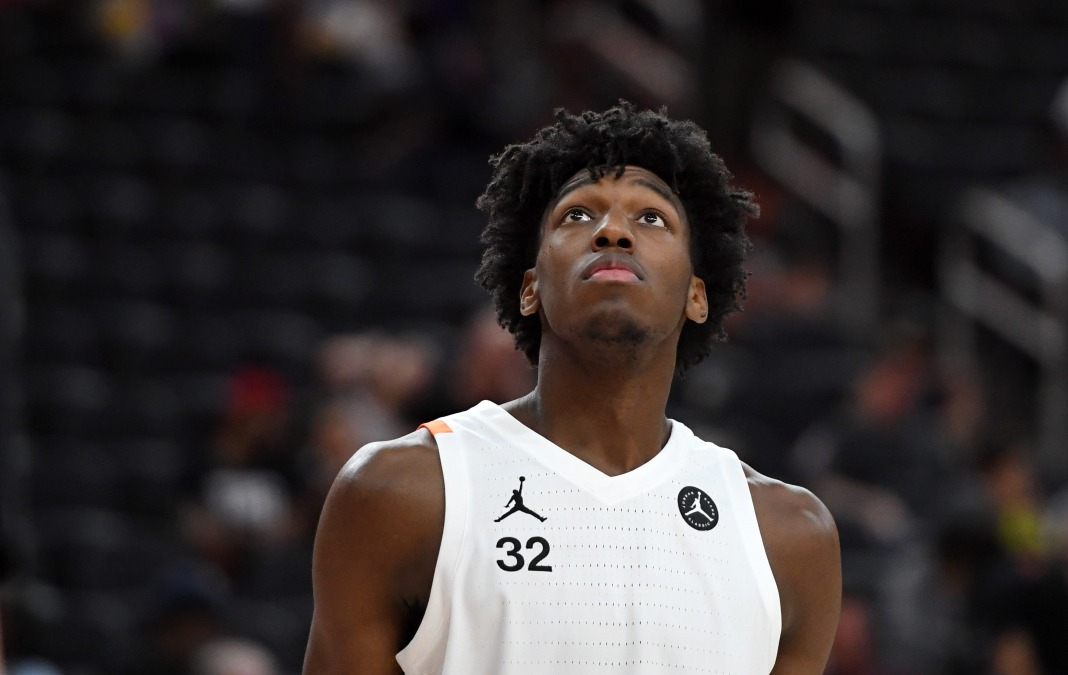 Projected 2020 lottery pick James Wiseman looks up.